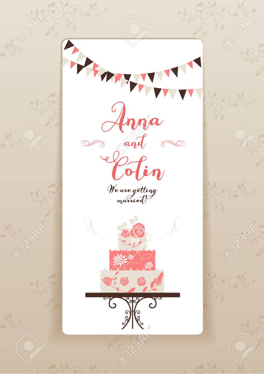 Wedding invitation with cake. Elegant wedding design for leaflet, cards, invitation and so on. Place for text. - 40364843