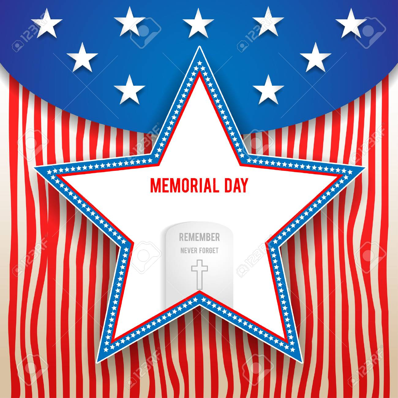 Memorial day design on striped background. Holiday patriotic card for Independence day, Memorial day, Veterans day, Presidents day and so on. - 41426217