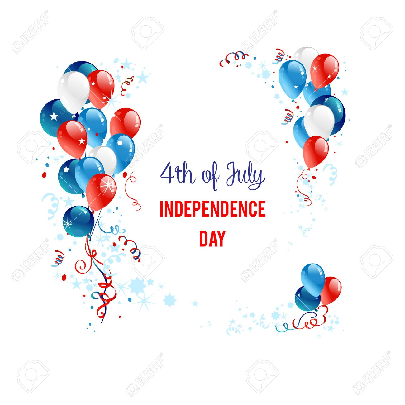 Independence day background with balloons. Holiday patriotic card for Independence day, Memorial day, Veterans day, Presidents day and so on. - 41426302