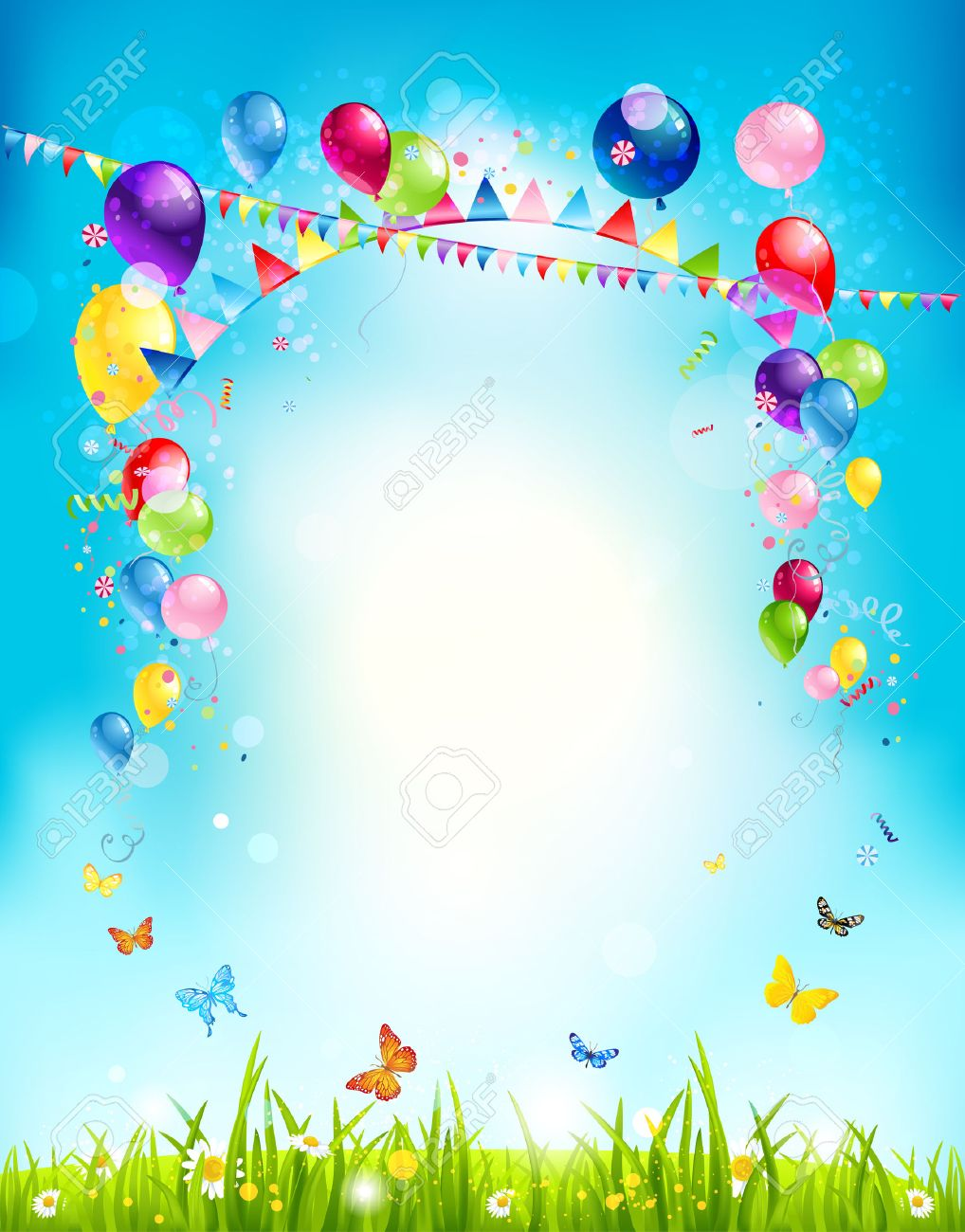 Summer holiday background with balloons and flags for advertising, leaflet, cards, invitation and so on. Copy space. - 41899812