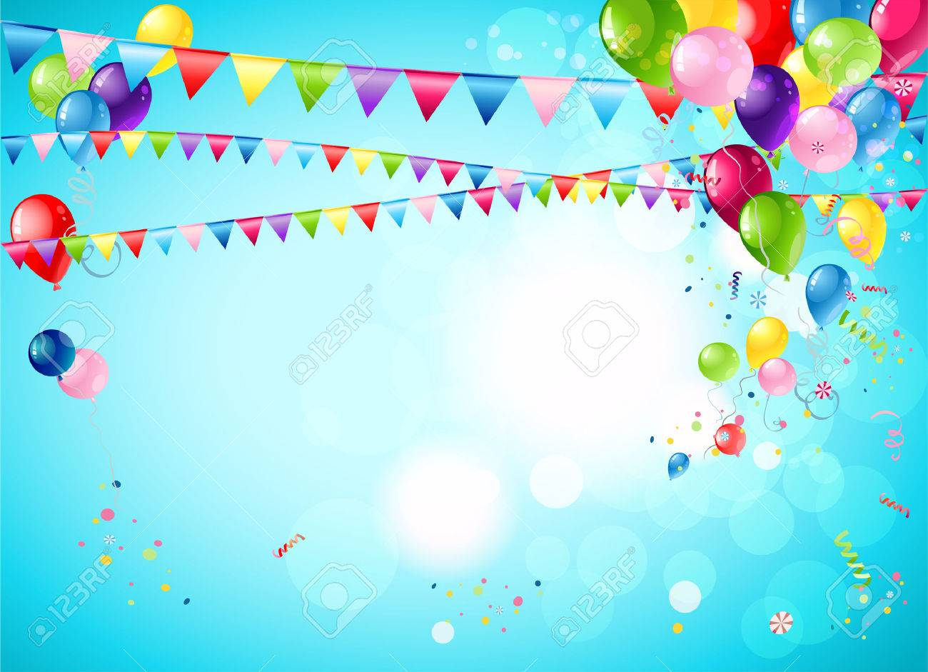 Bright festive background with balloons, flags and confetti - 41899829