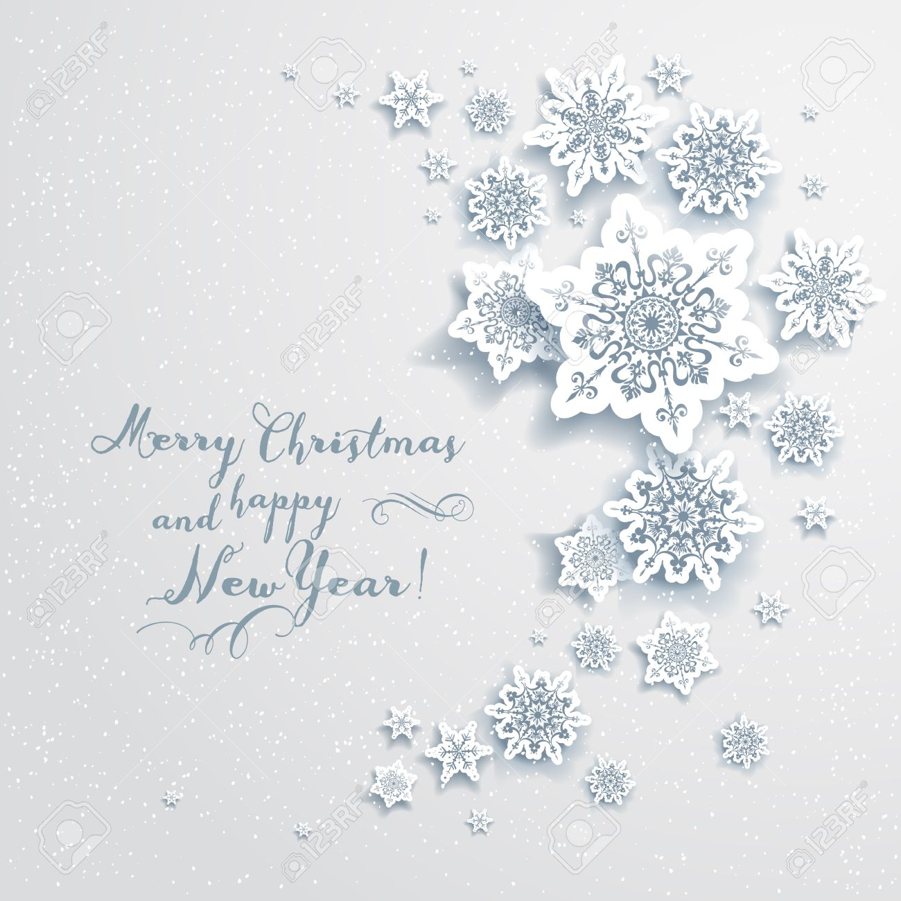 Holiday Christmas Card With Snowflakes. Elegant Design For ...