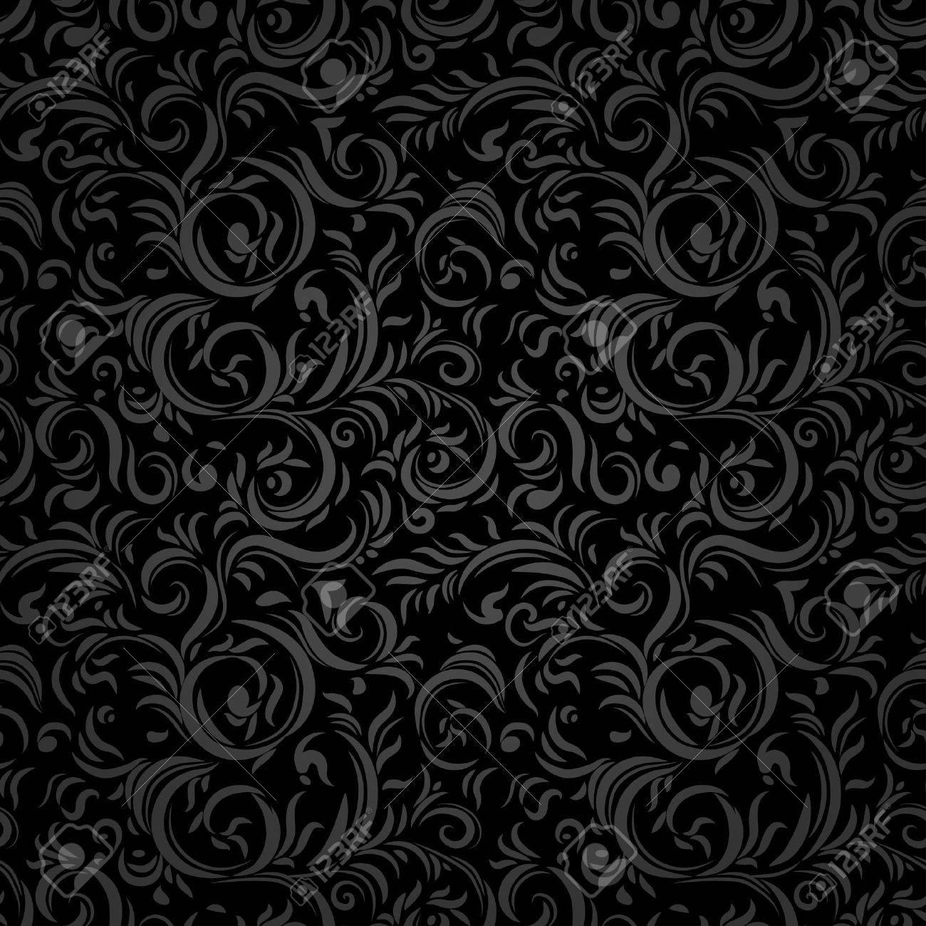 Black stylized seamless pattern. Holiday background. - 46572815
