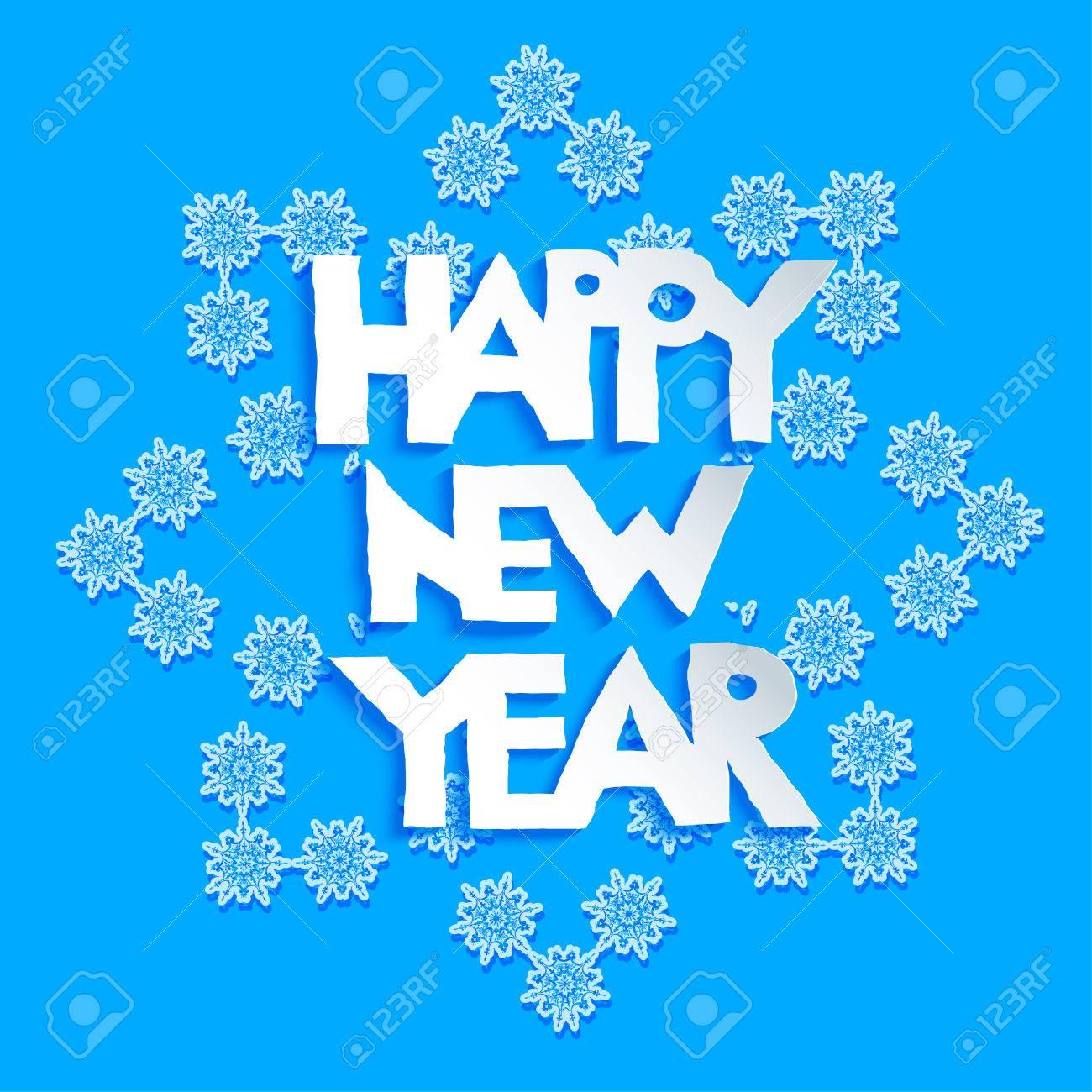 Copo De Nieve Grande Fiesta En El Fondo Azul. Feliz Año Nuevo Diseño ...