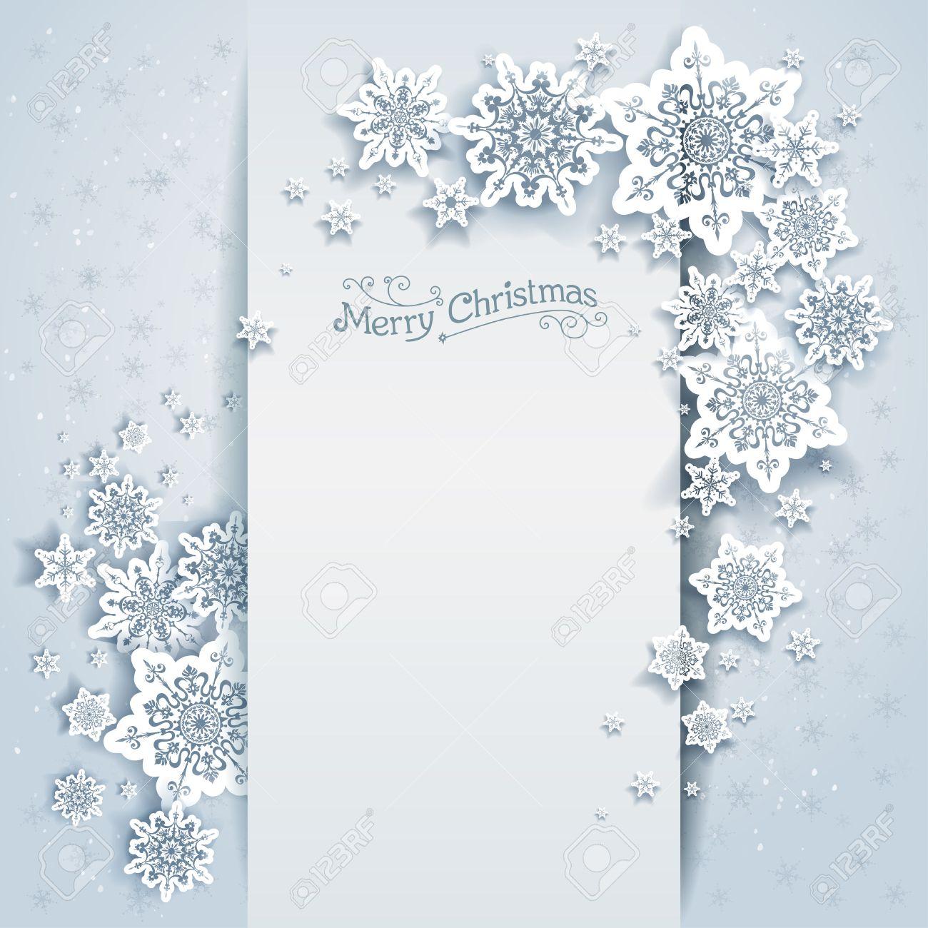 Carta di soggiorno invernale per il web, banner, invito, depliant e così  via. Sfondo di Natale con i fiocchi di neve.