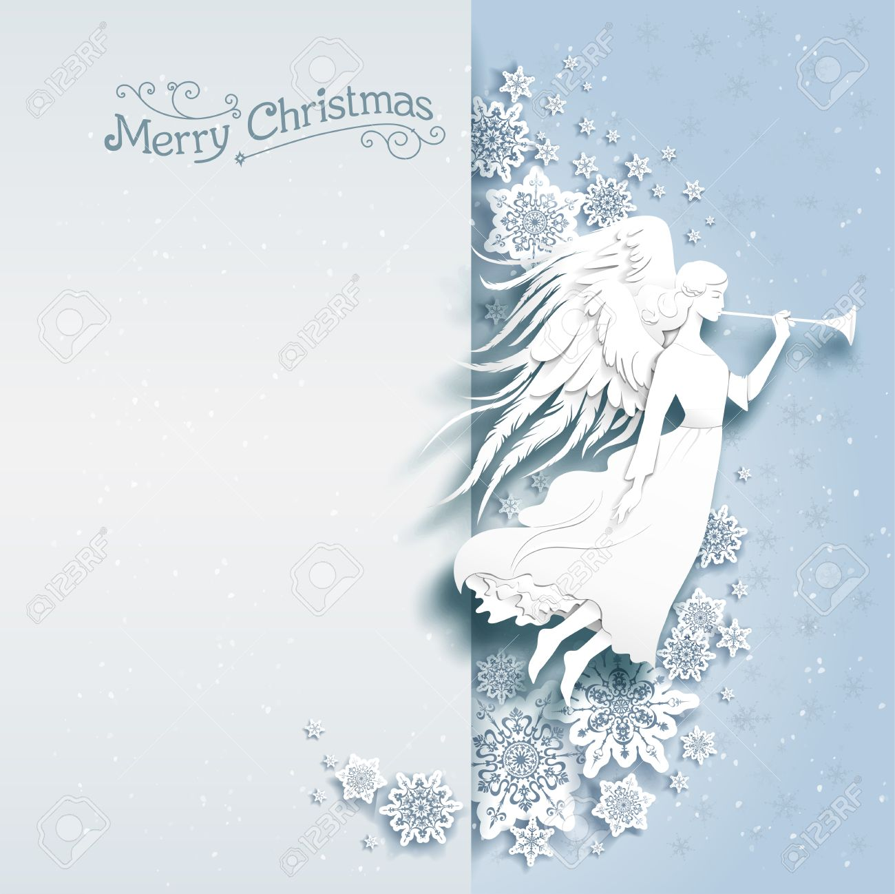 Christmas card with silhouette of an angel on a snowy background. Luxury Christmas design for card, banner,ticket, leaflet and so on. - 49779579