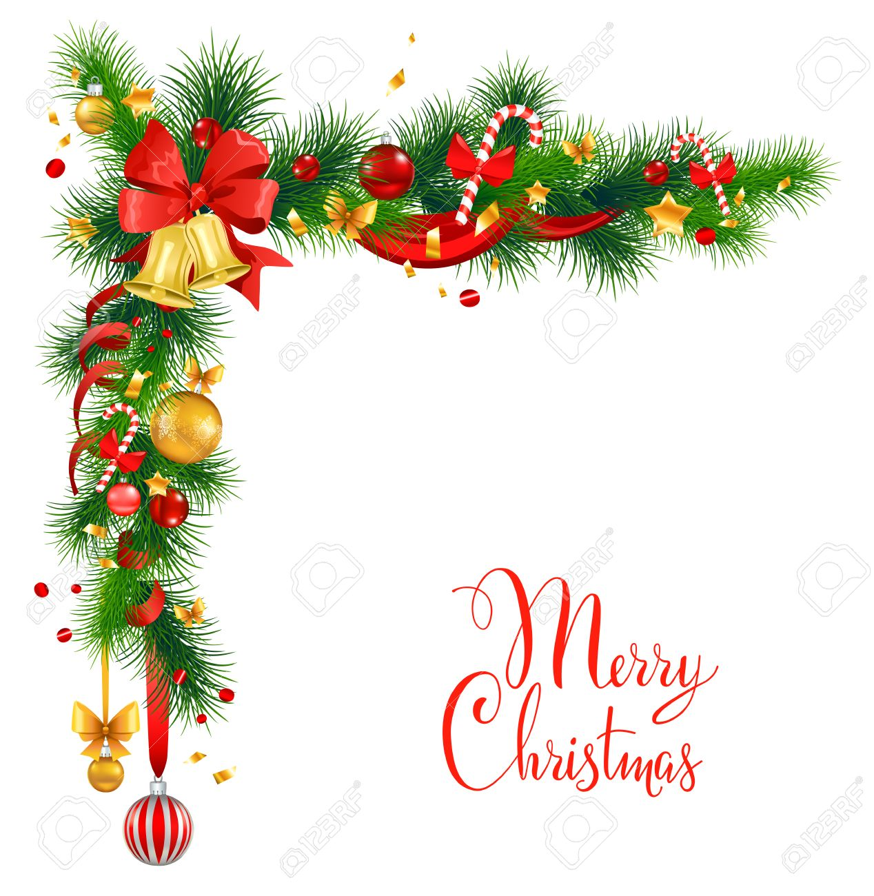 Christmas Decorations With Bells Holiday Background For Design