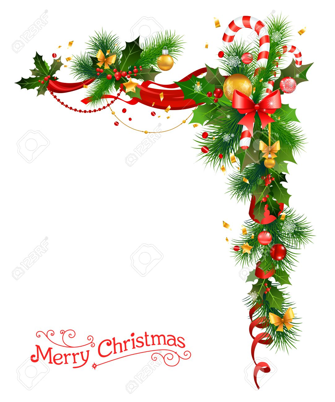 Holiday decorations with Christmas tree, holly and candy cane.Festive corne for design card, banner,ticket, leaflet and so on. - 49779588