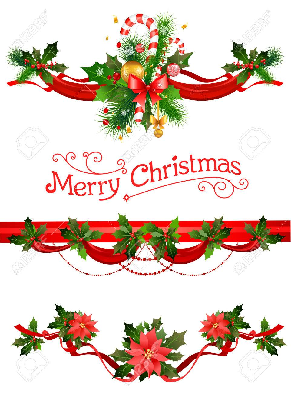 Christmas decorations. Holiday elements for design card, banner,ticket, leaflet and so on. - 49779586