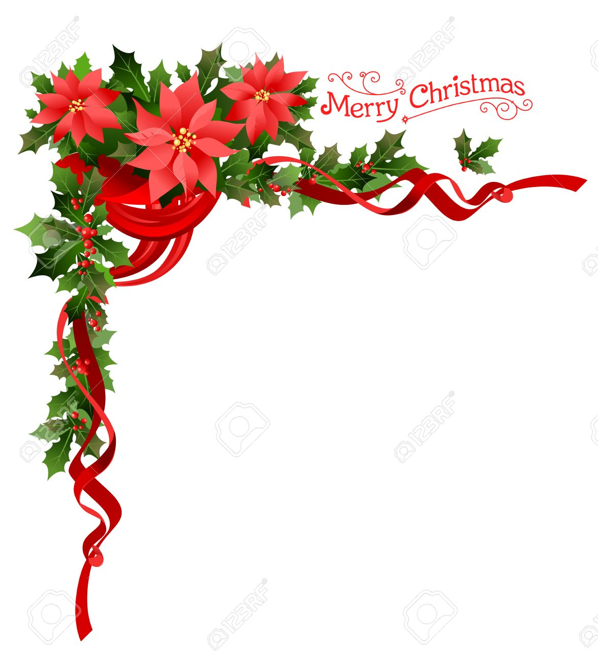 Poinsettia holiday corner. Holiday elements for design card, banner,ticket, leaflet and so on. - 49779587