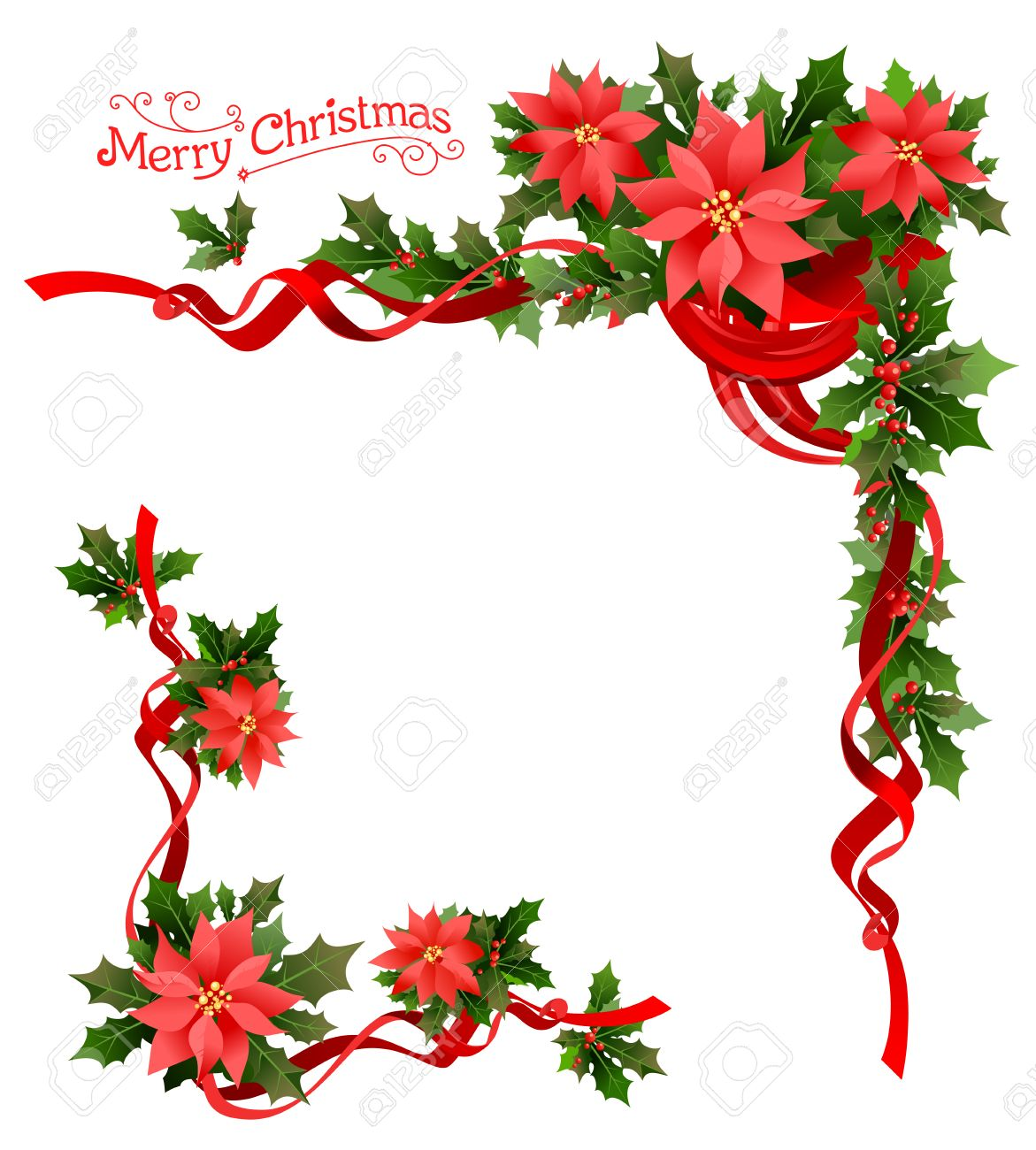Christmas poinsettia corner. Holiday elements for design card, banner,ticket, leaflet and so on. - 49779599
