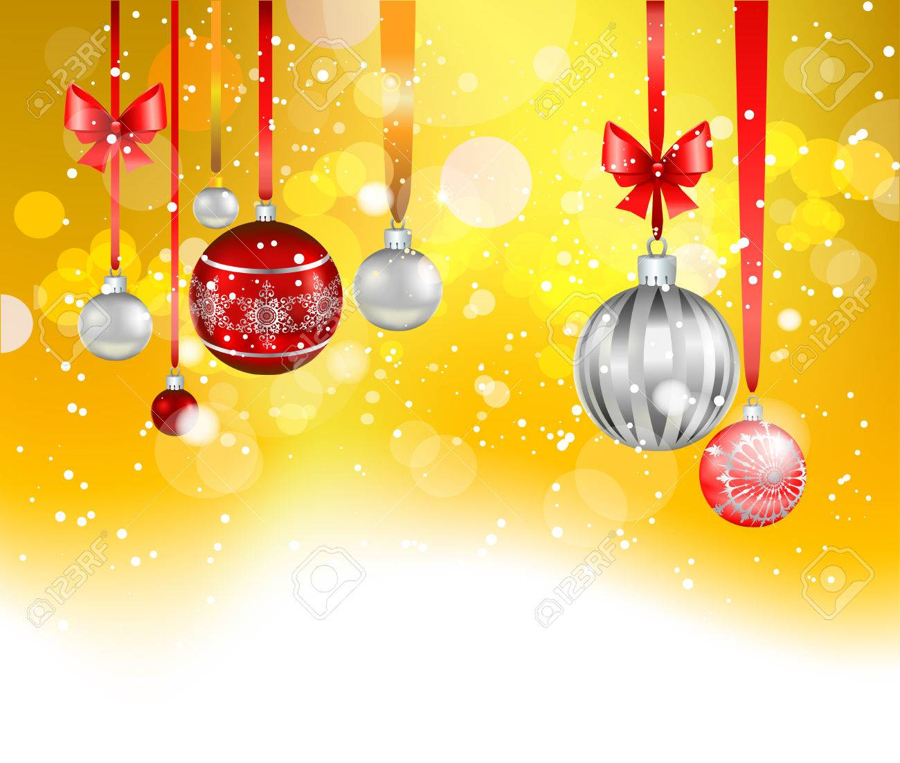 Christmas Leaflet Background.Yellow Holiday Background With Balls Place For Text Christmas