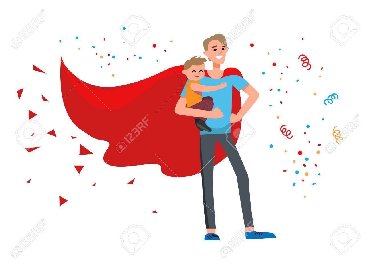 Superhero dad cartoon Stock Vector - 80783355