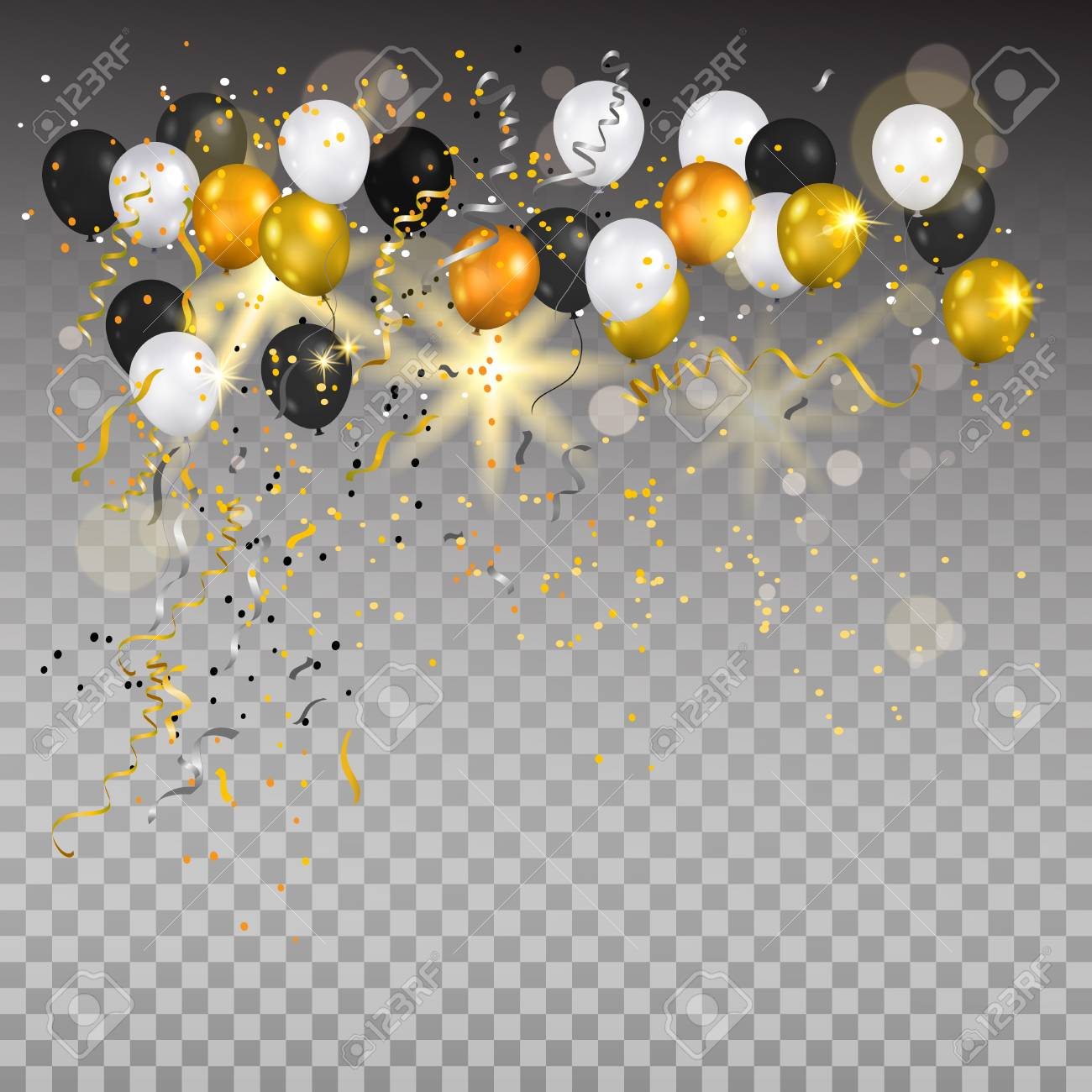 Color holiday white, gold and black balloons. Holiday balloons and confetti on transparent background. Anniversary, celebration or party decoration. - 85315044
