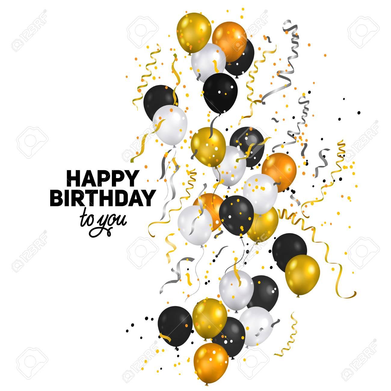 Ballons Und Konfetti Herzlichen Gluckwunsch Zum Geburtstag