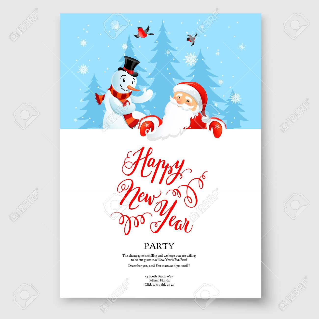 Santa Claus Happy Holiday Greeting Card Royalty Free Cliparts