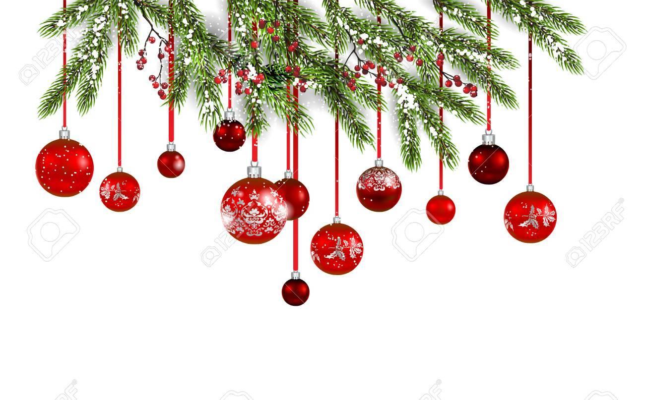 Rote Dekoration Mit Tannen- Und Bolzwinterfeiertagseinladung ...