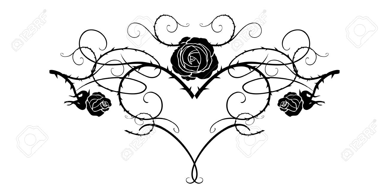 Graphic silhouette of roses for holiday decorations, wedding, anniversary, party, birthday. For invitation, ticket, leaflet, banner, poster and tattoo. Fairy floral flourish design elements - 94133694