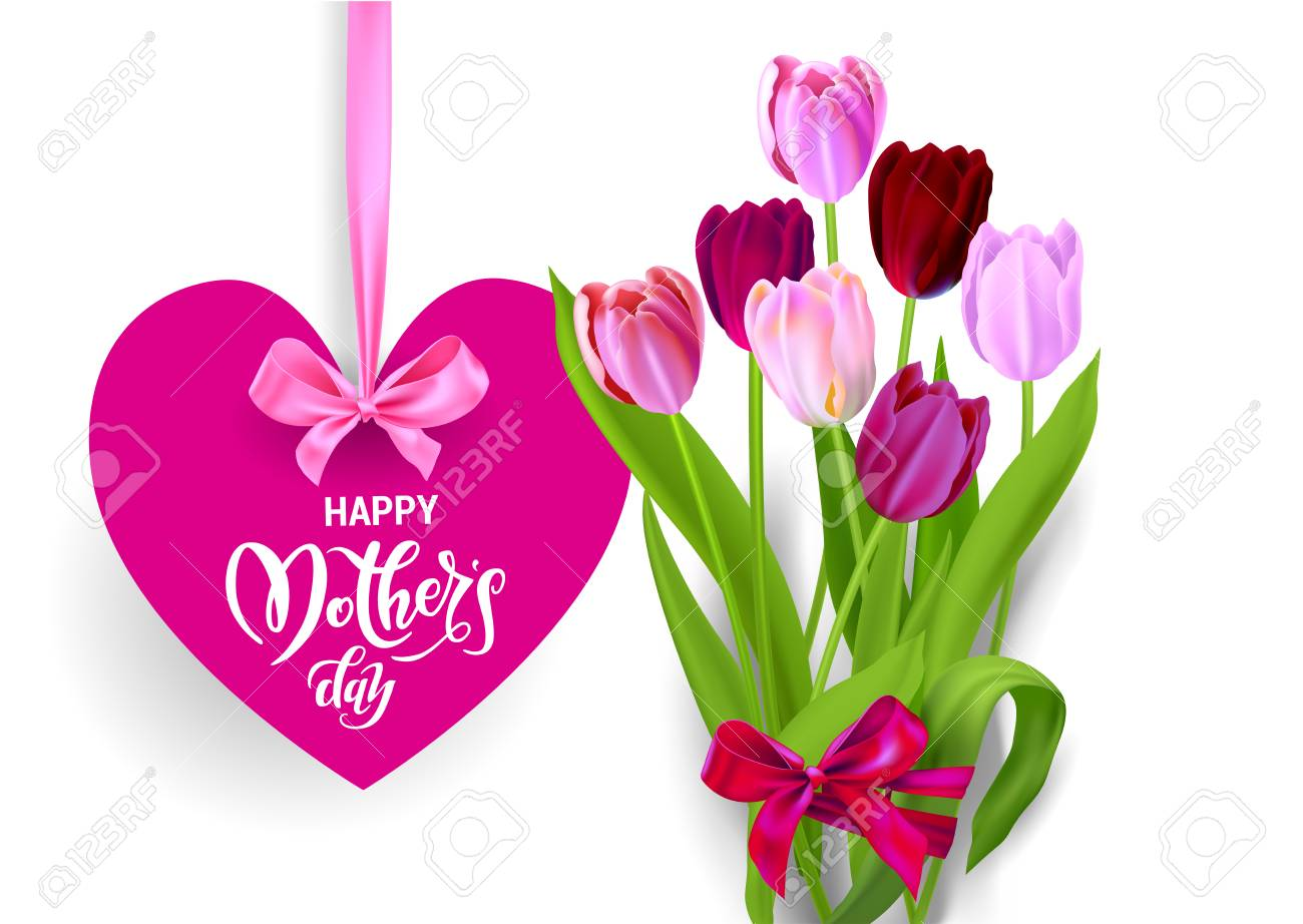 Mothers Day Tulip Bouquet >> Happy Mother S Day Text On Heart With Ribbon And Tulips Bouquet