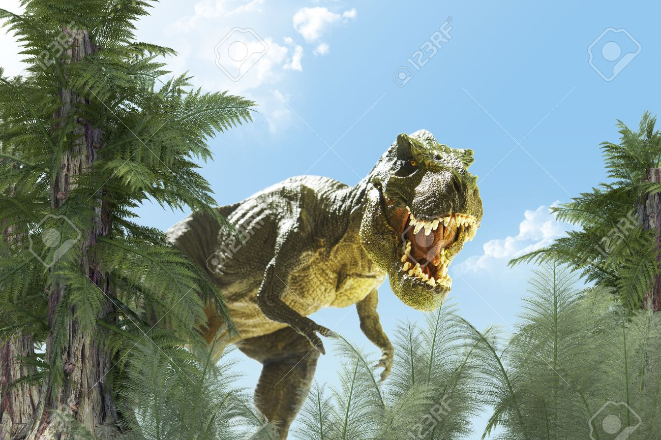 Dinosaur In The Jungle Background 3d Render Stock Photo Picture And Royalty Free Image Image 50296620