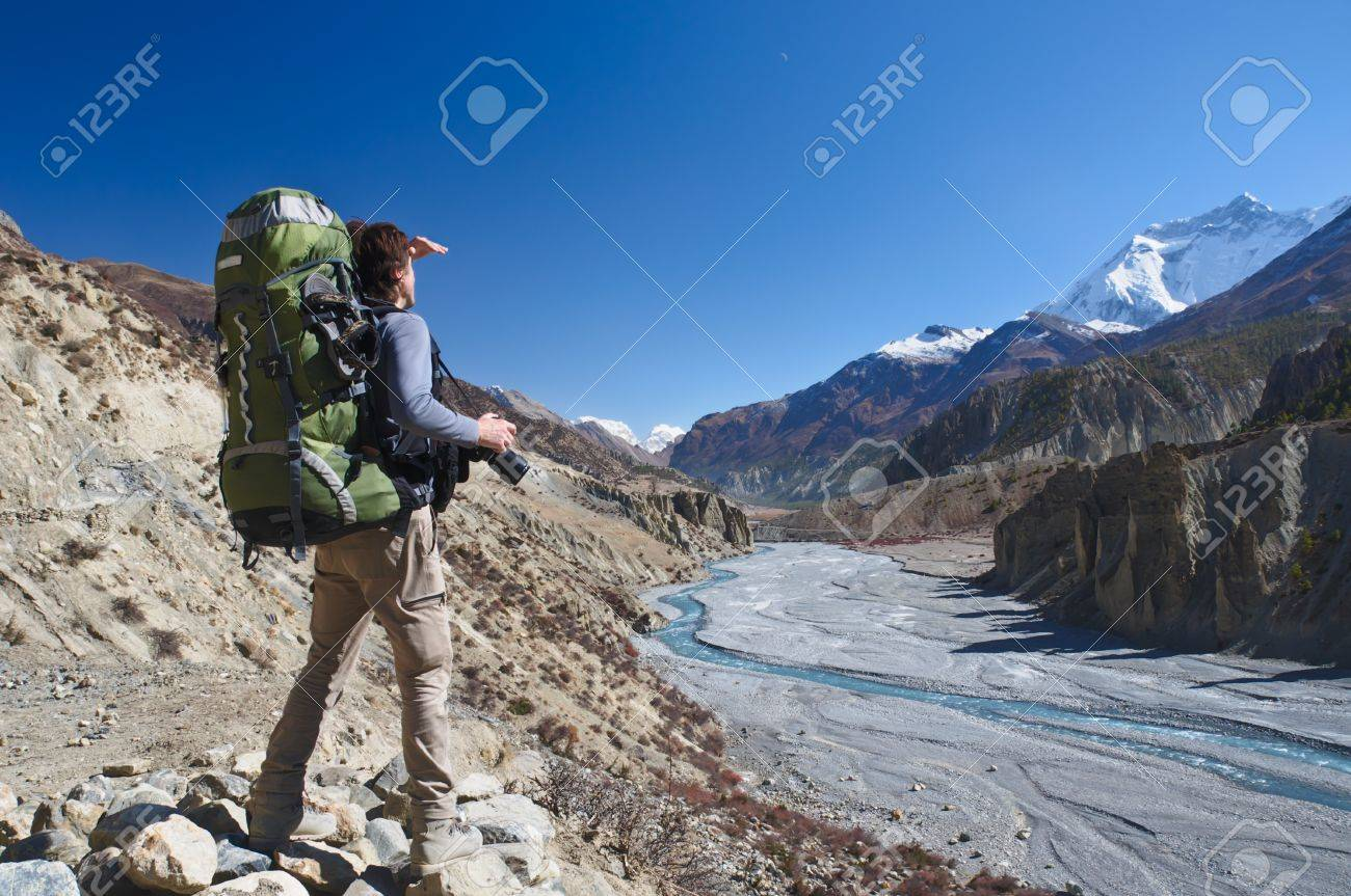 Lone Trekker With A Backpack In The Mountains Of Nepal 449ff4c729b4b