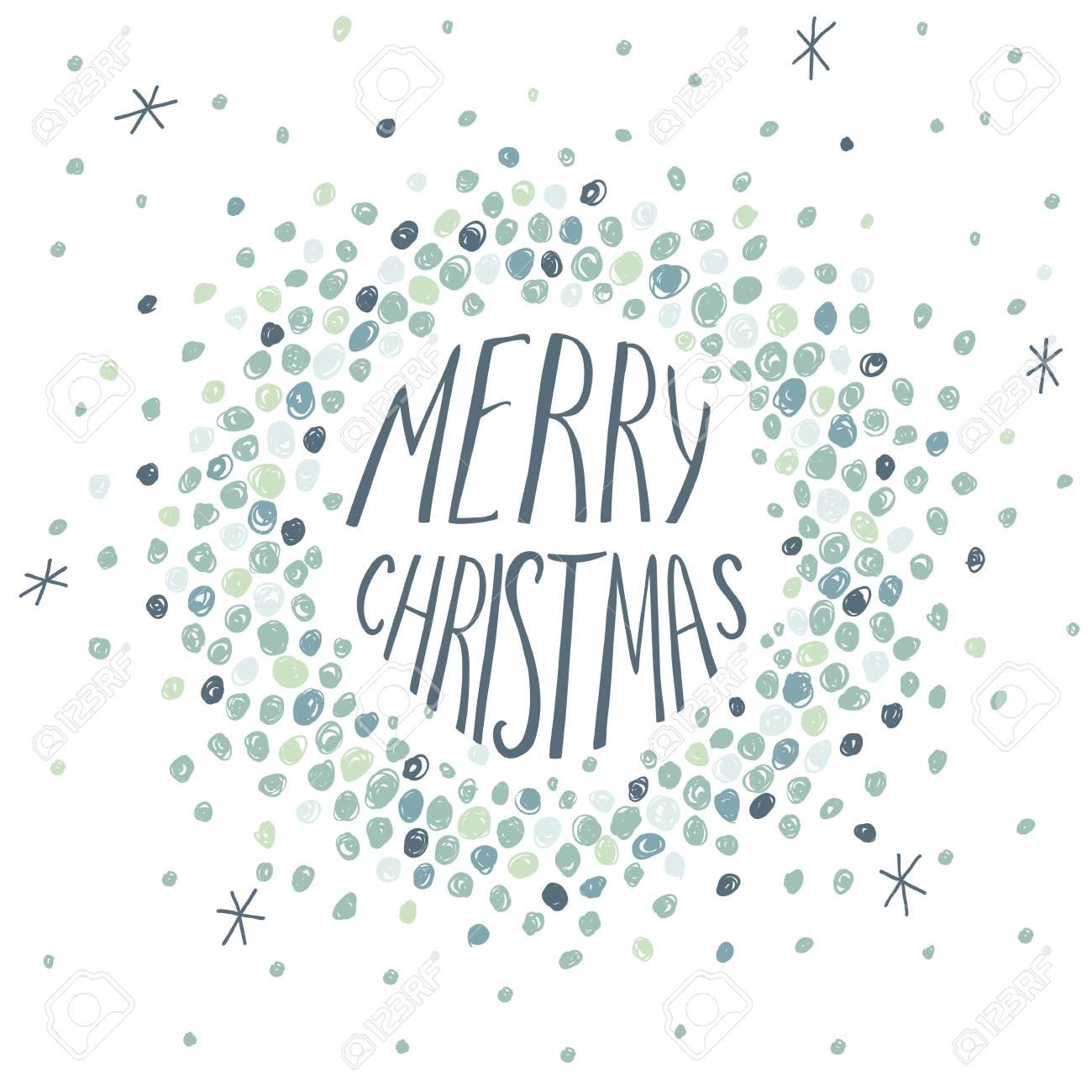 ラウンド フレームと手書きの手紙とクリスマス カードのイラスト素材 ベクタ Image