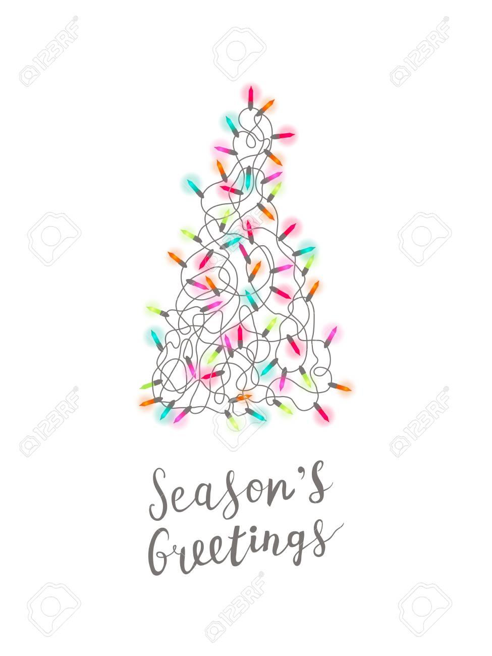 Christmas Card Greetings.Christmas Greeting Card With Christmas Tree Made Of Tangled Christmas