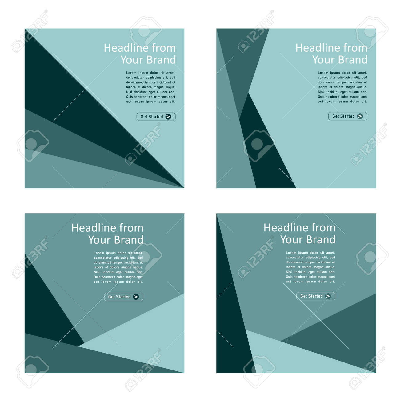 Social media template in square shape with green cold color variations. Can be applied both for the cover page and the inside. - 168396205