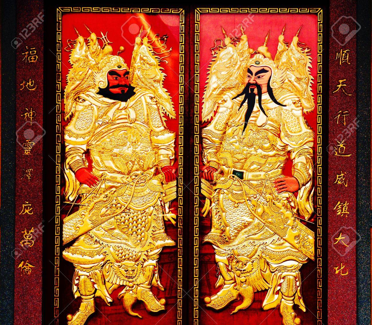 golden gates chinese door god Stock Photo - 12943828  sc 1 st  123RF.com & Golden Gates Chinese Door God Stock Photo Picture And Royalty Free ...