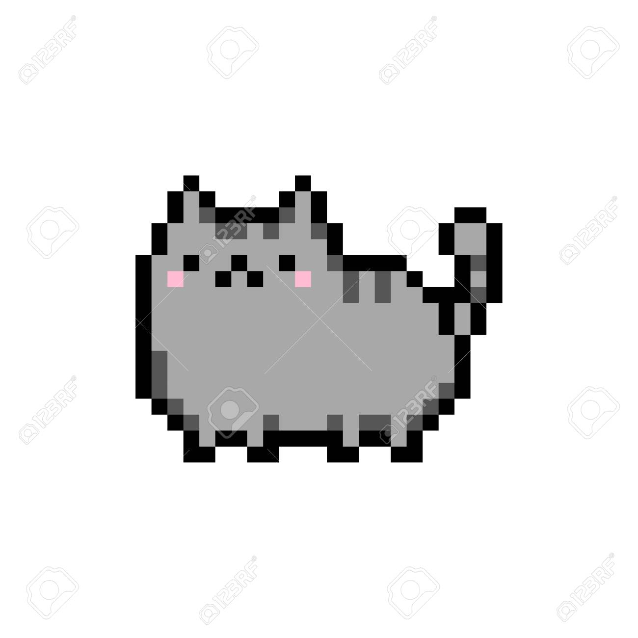 Cute Kitten Domestic Pet Pixel Art Isolated Vector Illustration