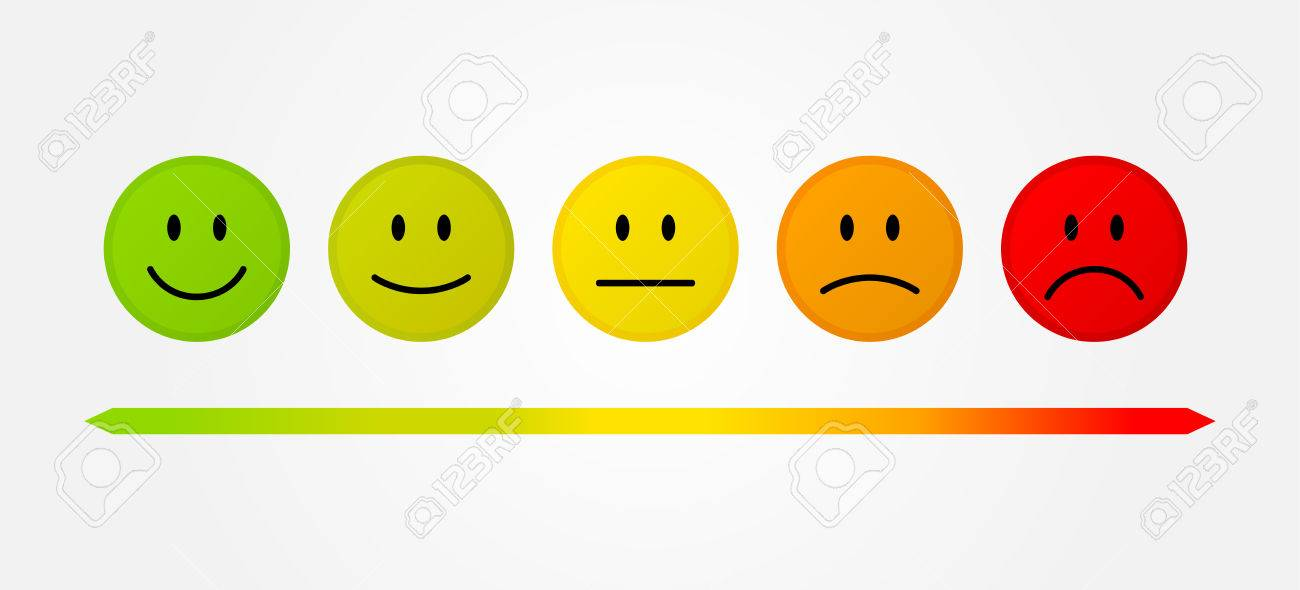 Set 5 faces scale - smile neutral sad - isolated vector illustration - 70142357