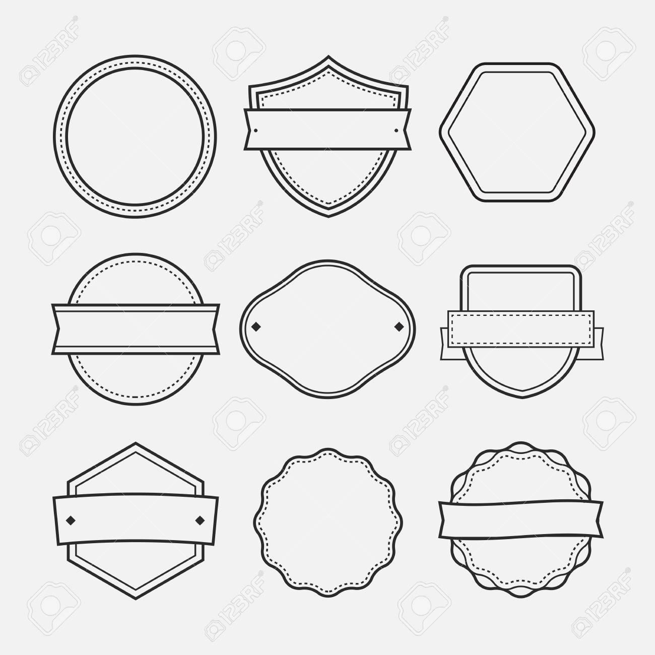Isolated Vector Illustration. Blank Logo Frames Drawn Set. Royalty ...