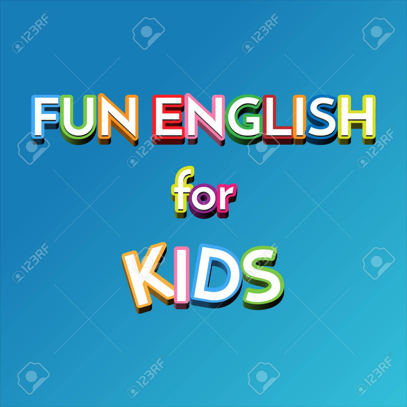 子供のベクトルを壁紙します 青の背景に楽しい英語の標識 子供のため