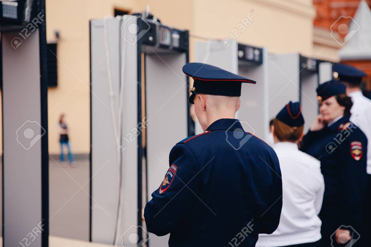 Moscow, Russia- June 12, 2017: Police Check The Metal Detector ...