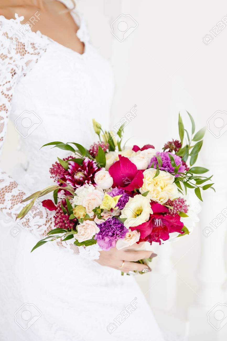 Wedding Bouquet. The Bride Is Holding Flowers For The Engagement ...