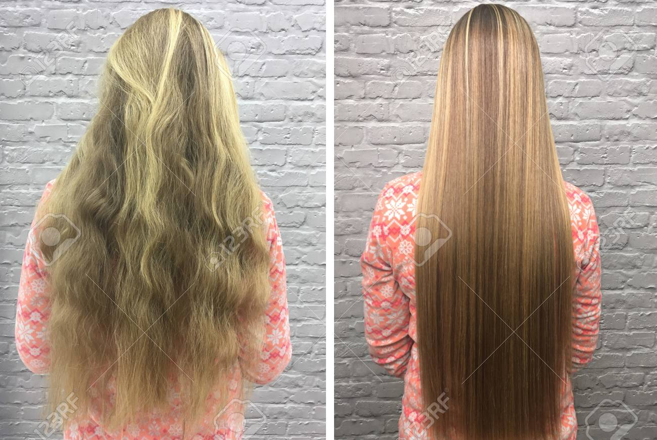 Sick, cut and healthy hair. Hair before and after treatment. - 92469863
