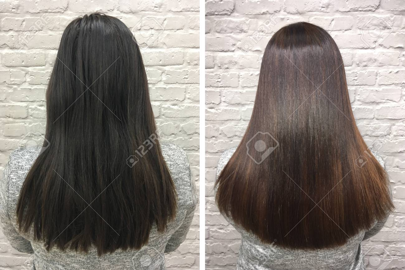 Sick, cut and healthy hair. Hair before and after treatment. - 92852467
