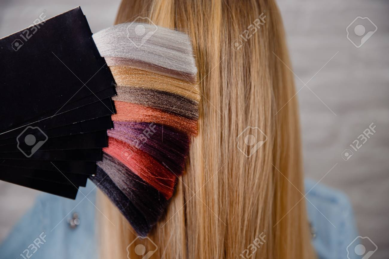 Palette Set Of Hair Colors On Background Of Head And Blonde Hair
