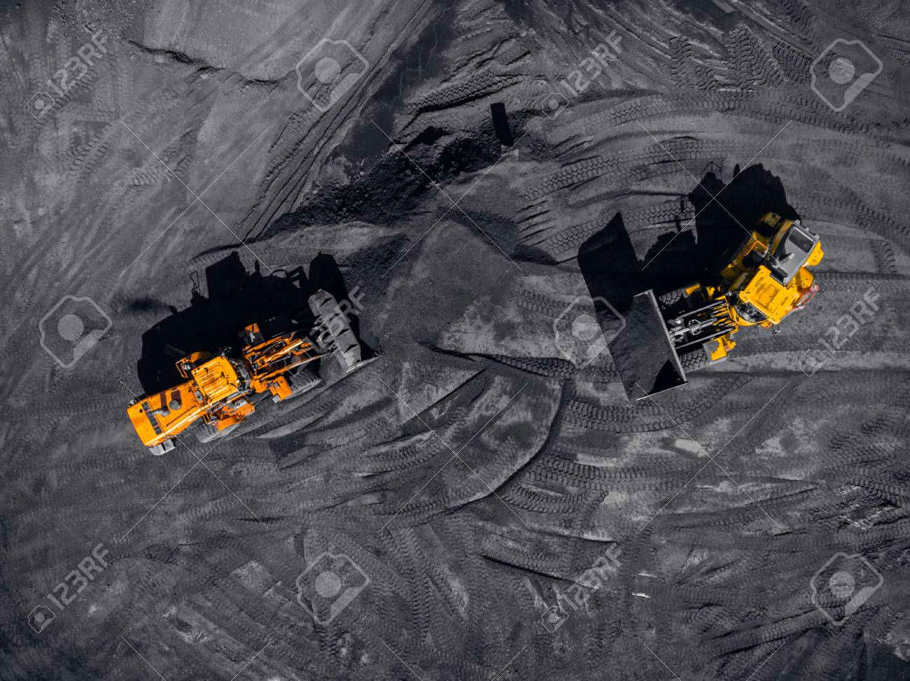 Open pit mine, extractive industry for coal, top view aerial drone - 108863264