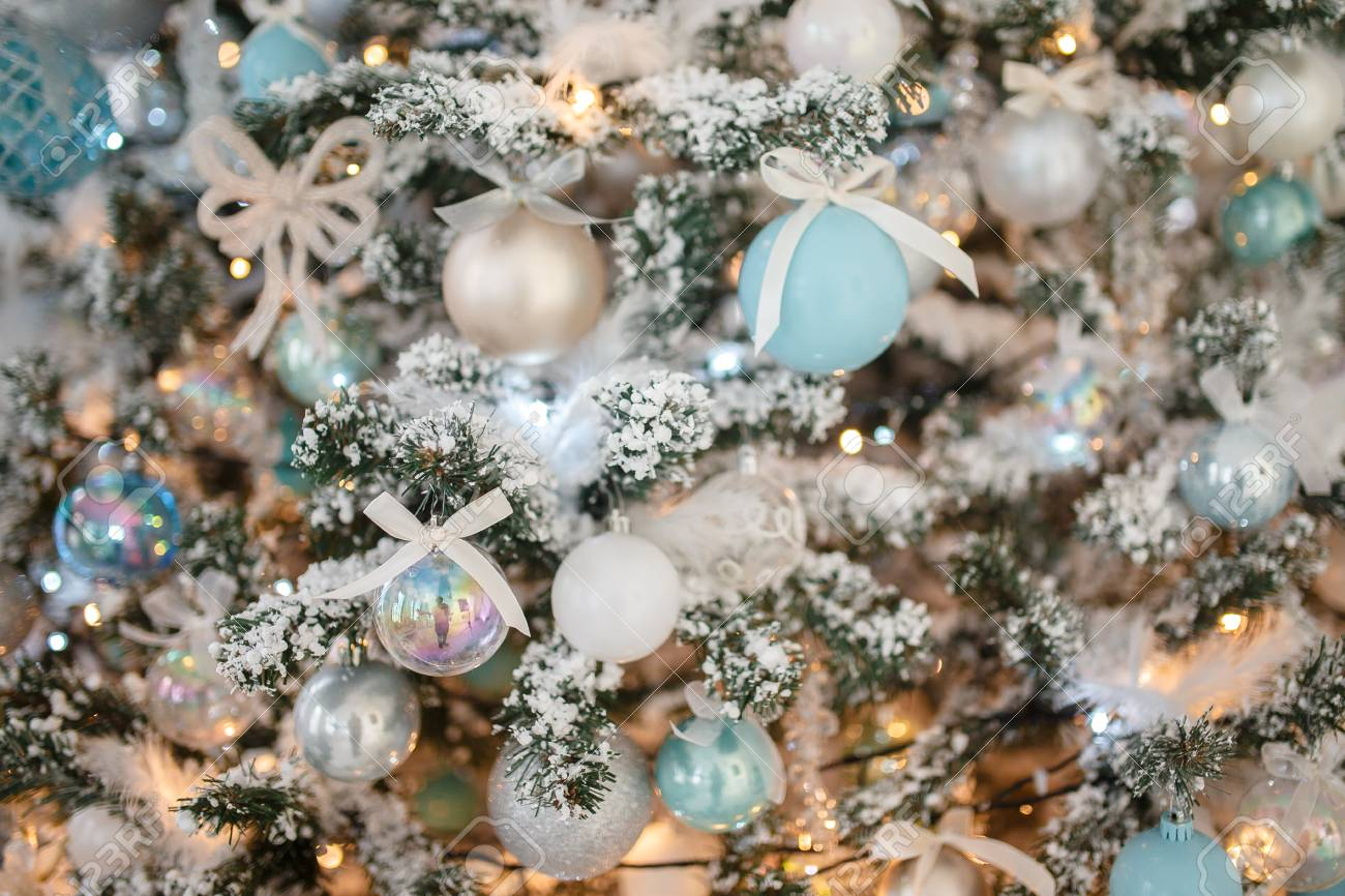Closeup Christmas Tree Toy Light Background Blue And White Color Stock Photo Picture And Royalty Free Image Image 112556194