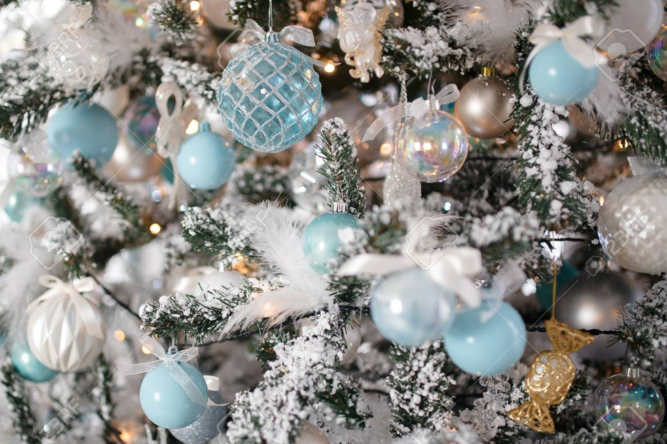 Closeup Christmas Tree Toy Light Background Blue And White Color Stock Photo Picture And Royalty Free Image Image 112556225