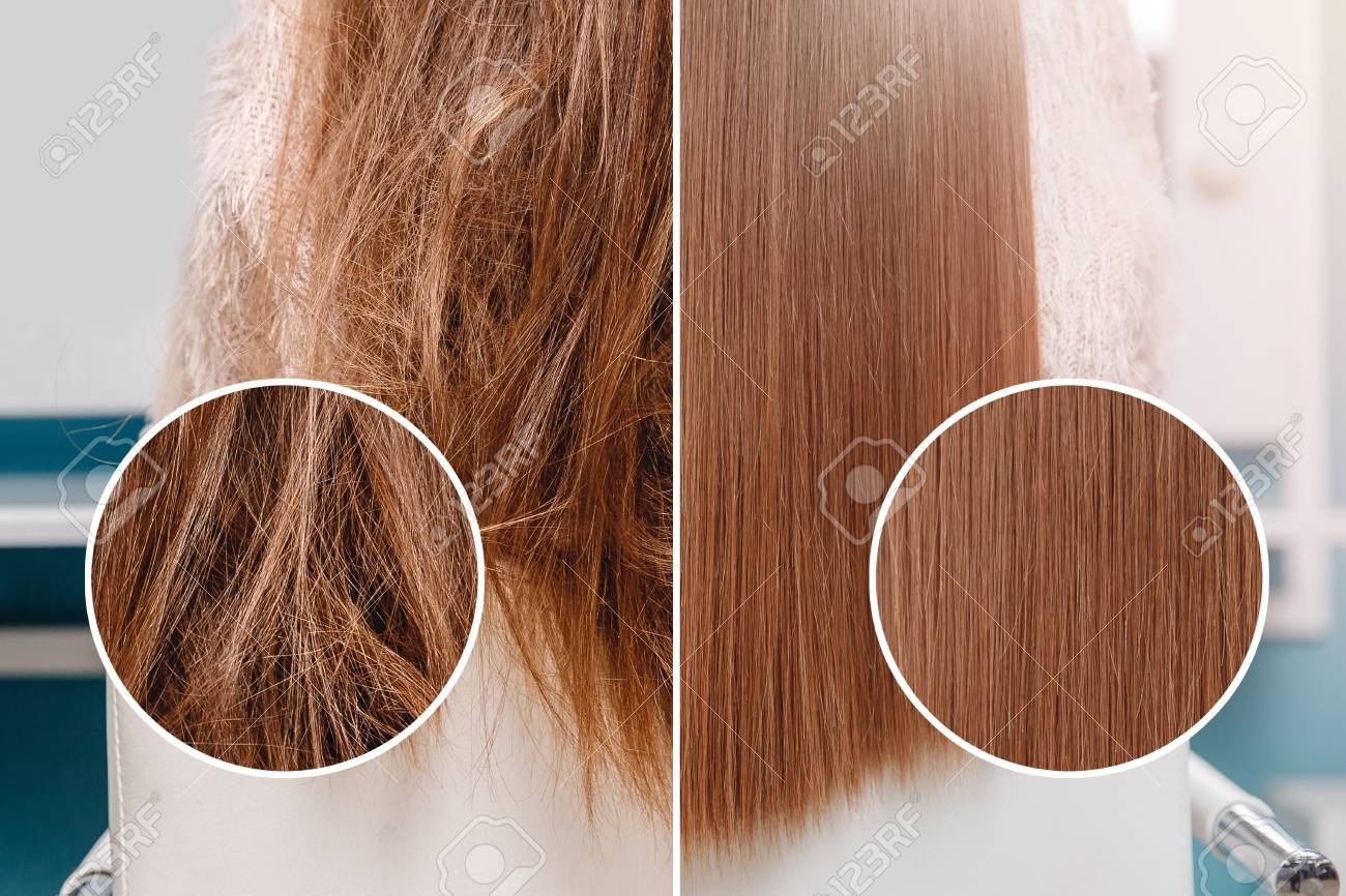 Sick, cut and healthy hair care straightening. Before and after treatment. - 115157738