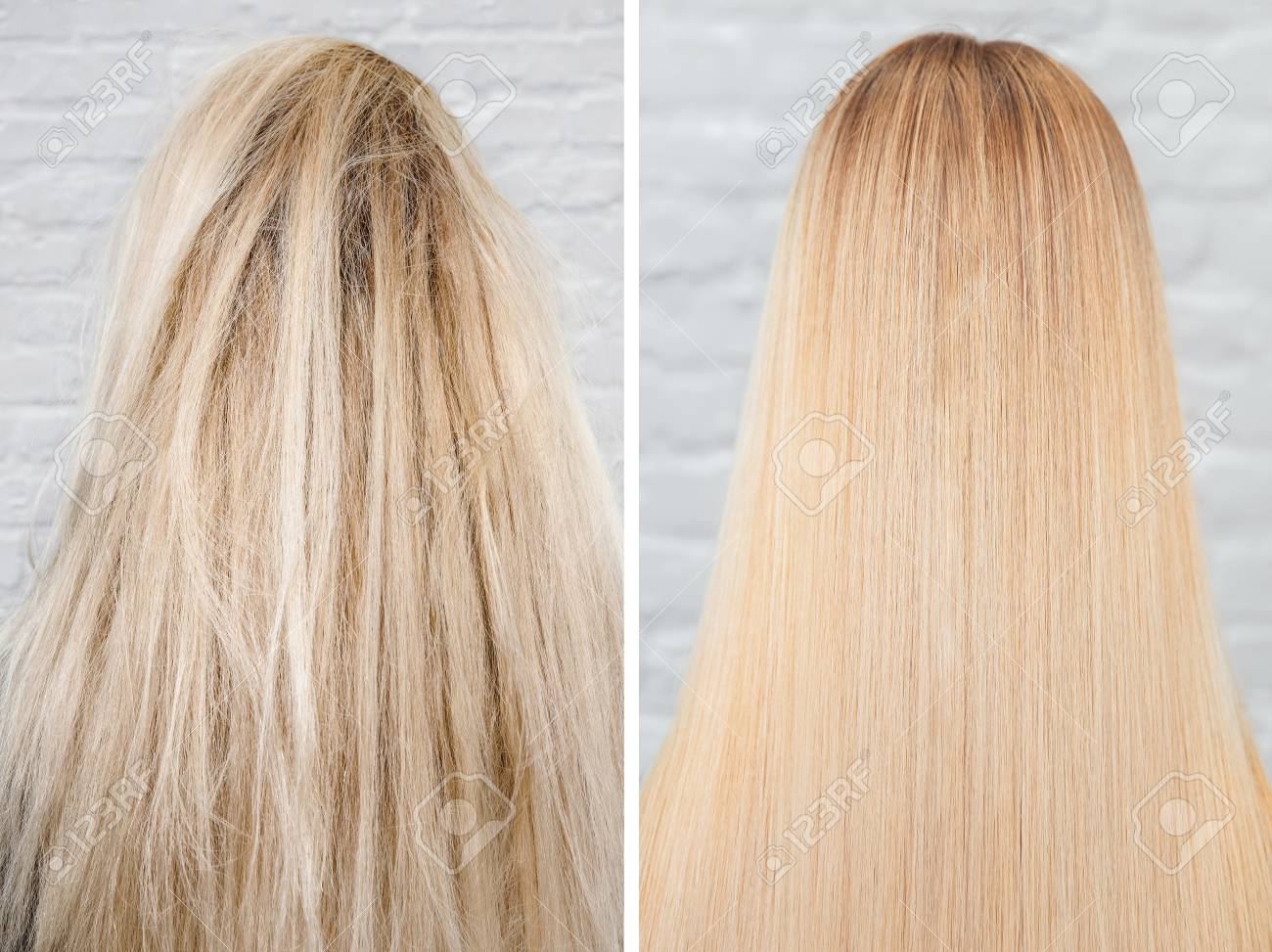 Before and after straightenin treatment. Sick, cut and healthy hair care keratin - 124816919