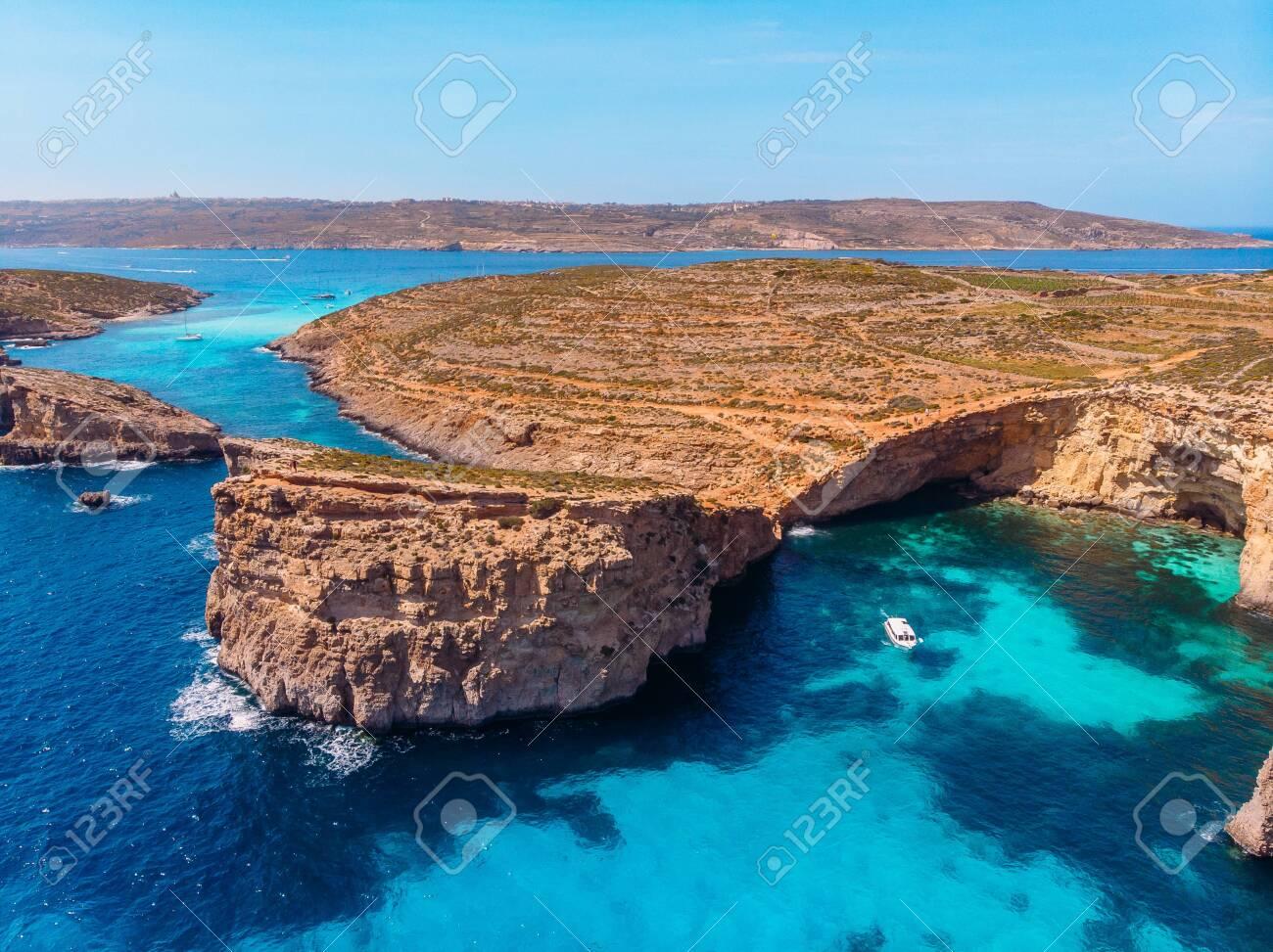 Blue Lagoon Comino Malta Crystal Beach Aerial View