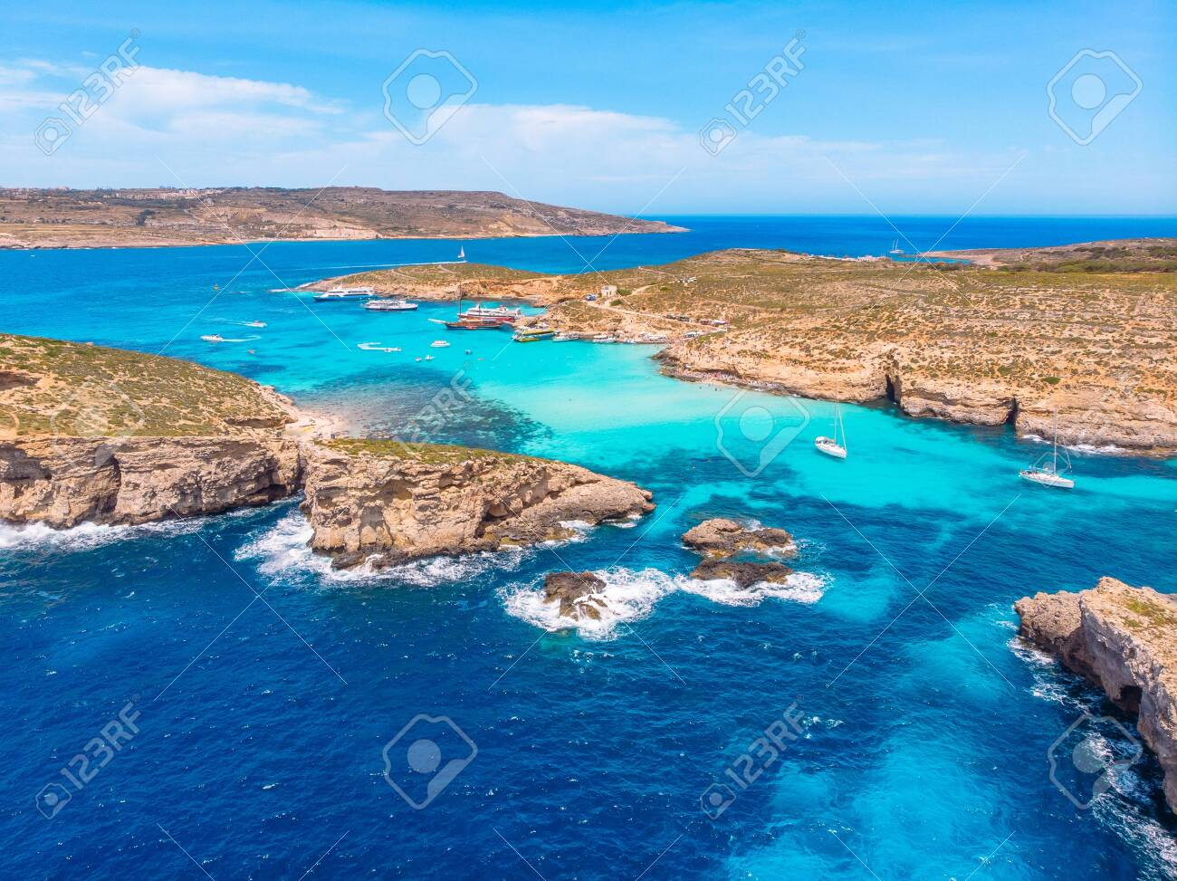 Panorama Of Blue Lagoon Comino Malta Cote Azur Turquoise Clear
