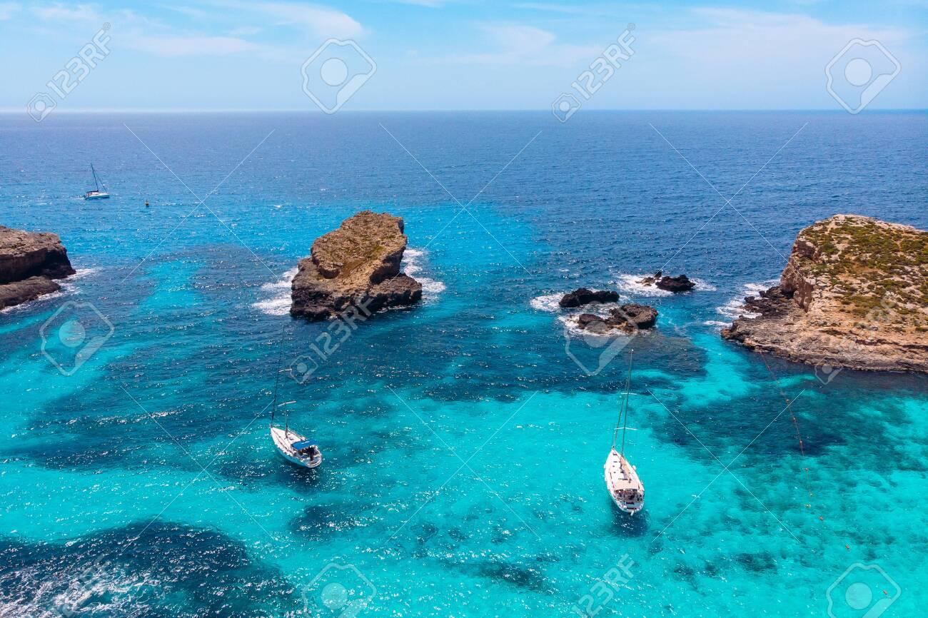 Panorama Beach Blue Lagoon Comino Malta Aerial View
