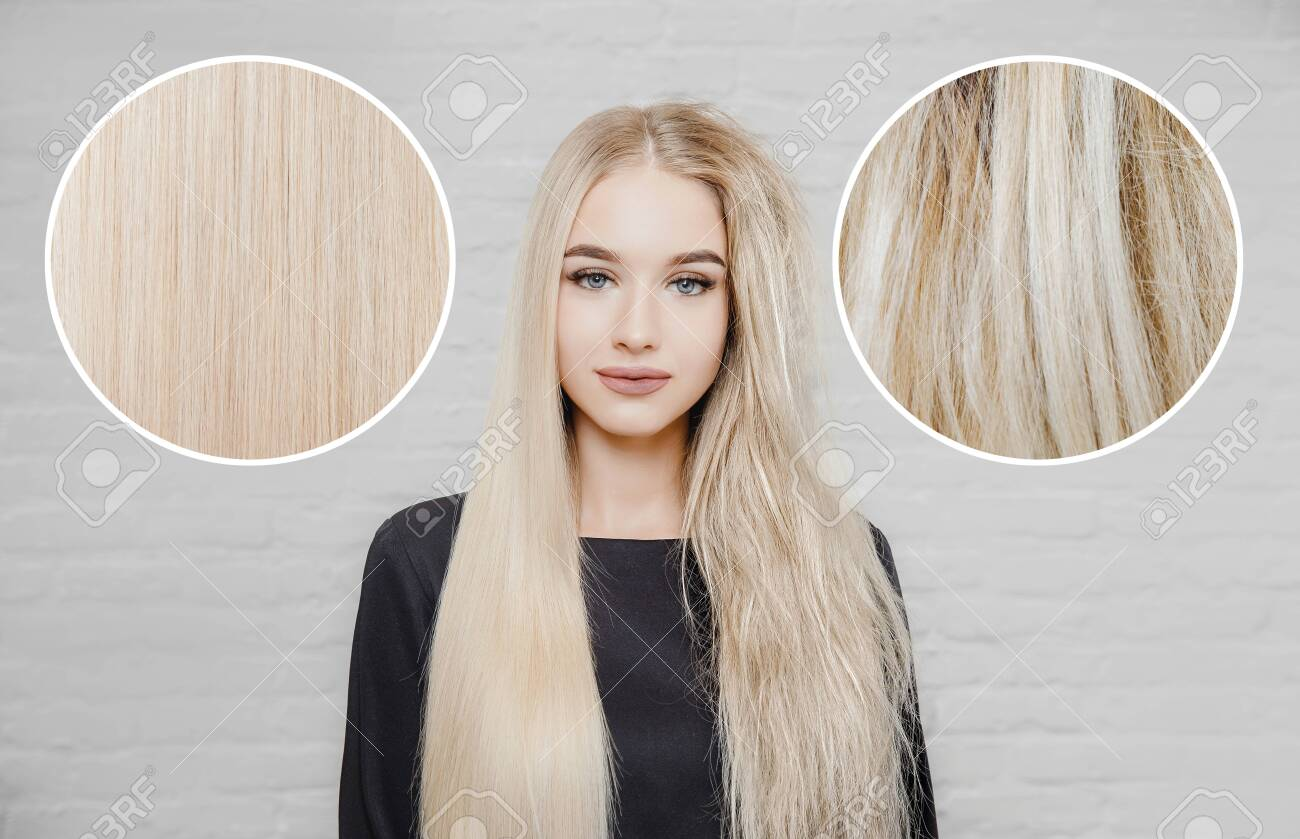 Sick, cut and healthy hair care keratin. Before and after straightenin treatment. Isolated white background - 132513938