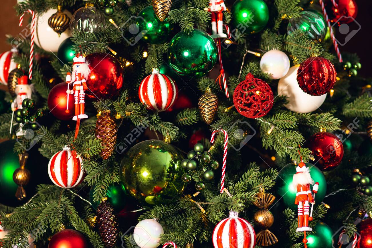 Decorated Christmas Tree Red And Green Color Close Up Of Toys Stock Photo Picture And Royalty Free Image Image 138106429