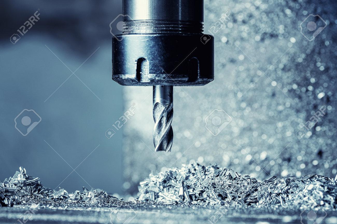 Process CNC drilling cut lathe machine cutting metal in steel factory - 170719165