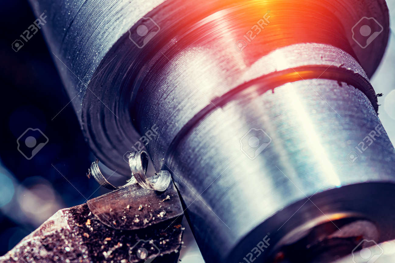 Process CNC lathe machine cutting metal. Modern industrial iron automotive technology. - 170719296